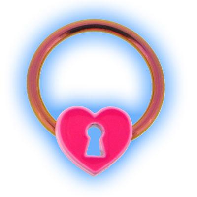 Pink Heart Locket Nipple Ring BCR