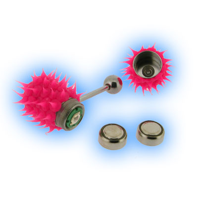 Pink Koosh Vibrating Tongue Stud - Vibrating Tongue Bar