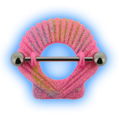 Pink Sparkly Shell Nipple Shield