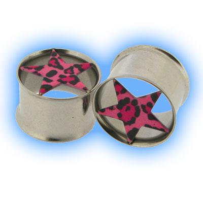 Stainless Steel Double Flared Eyelet with Pink Star