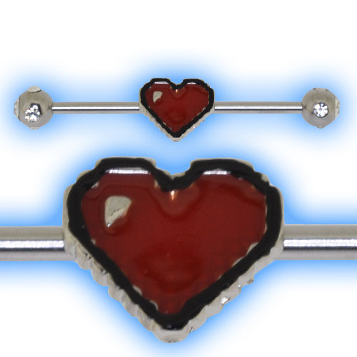 Industrial Barbell with Pixelated Heart for Scaffold Ear Piercing