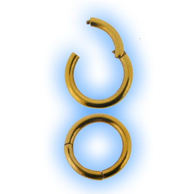 1mm Gold Plated Hinged Segment Ring - 18 gauge