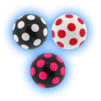 Spare Body Jewellery Ball - 1.6mm (14g) Acrylic Polka Dot