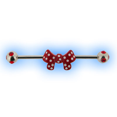Industrial Barbell with Red Polka Dot Bow for Scaffold Ear Piercing