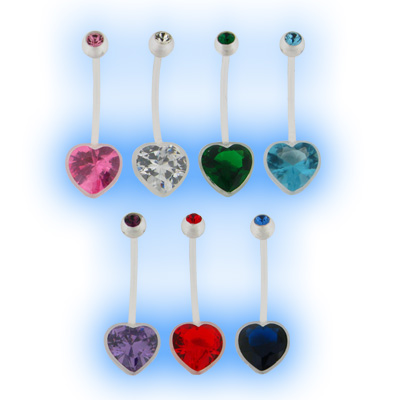 Pregnancy Belly Bar Jewelled Heart