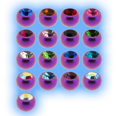 Purple Titanium Screw On Jewelled Ball - 1.2mm (16g)