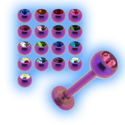Purple Titanium Labret Stud & Jewelled Ball - 1.2mm (16g)