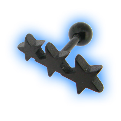 Black Flat Star Trio Ear Stud
