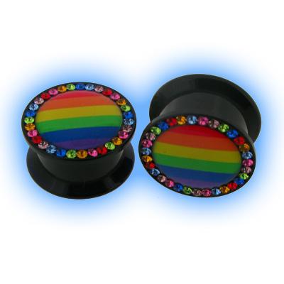 Jewelled Acrylic Ear Stash Plug - Rainbow