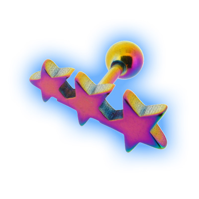 Rainbow Flat Star Trio Ear Stud