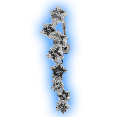 Reverse Belly Bar with Clear Star Cascade Top Dangle
