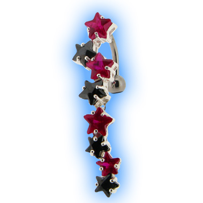Reverse Belly Bar with Red and Black Star Cascade Top Dangle