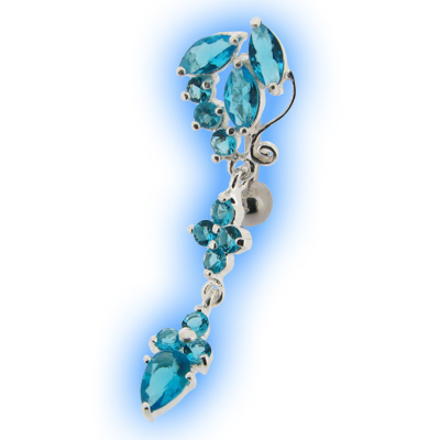 Reverse Belly Bar with Aqua Ornate Jewelled Top Dangle
