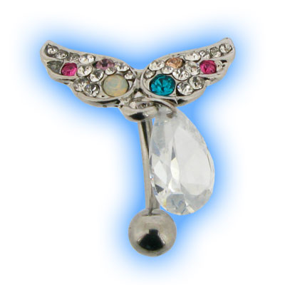 Reverse Belly Bar with Jewelled Angel Wings and Teardrop dangle