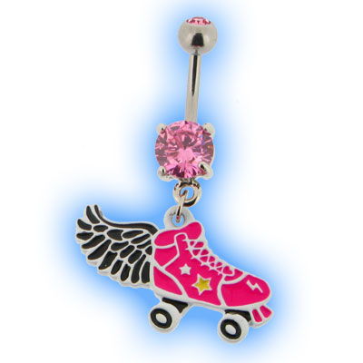 Roller Disco Belly Bar with Angel Wing