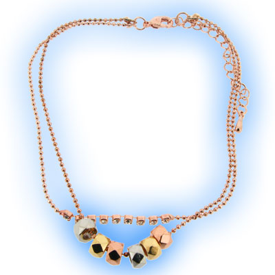 Bead Chain Anklet Rose Gold
