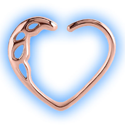 Rose Gold Ornate Cast Steel Heart Ring