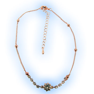 Rose Gold Crystal Gem Anklet