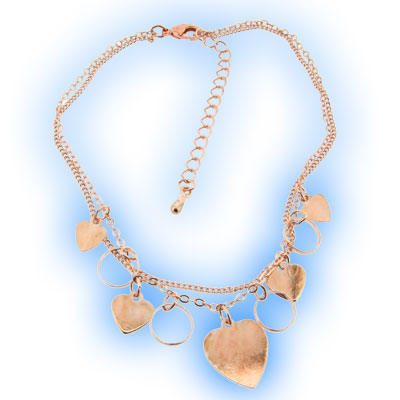 Hearts and Rings Anklet Rose Gold