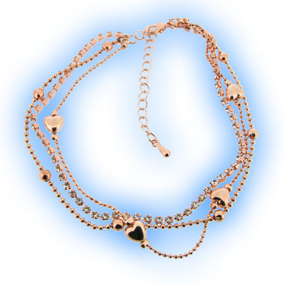 Hearts with Diamontes Ankle Chain Rose Gold