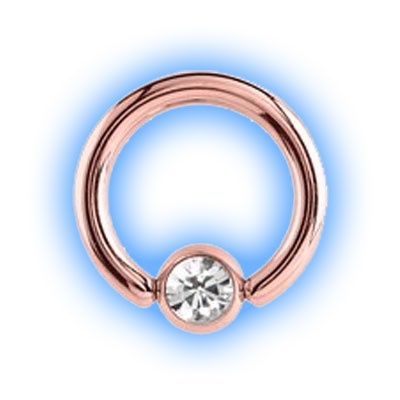 1.6mm (14g) Rose Gold Plated Ball Closure Ring - Jewelled