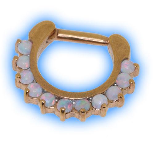 18k Rose Gold Plated White Opal Septum Clicker
