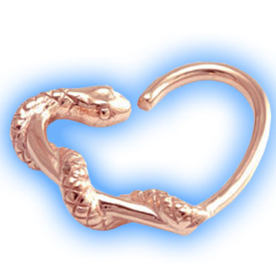 Daith Heart with Rose Gold Snake
