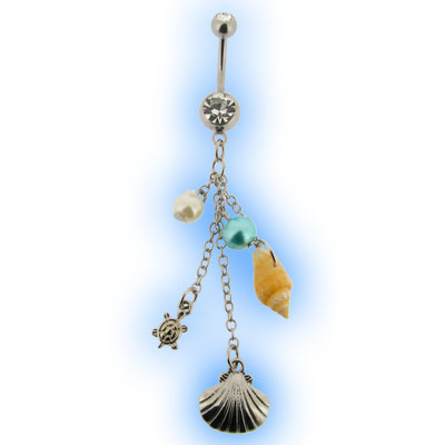 Sea Shell Charm Dangly Belly Bar