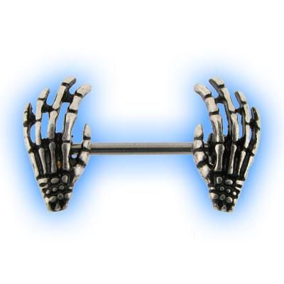Nipple Piercing Barbell with Skeleton Hands