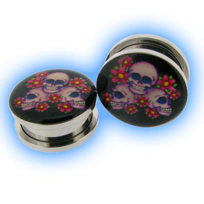 Skulls & Blossom Steel Screw Plug