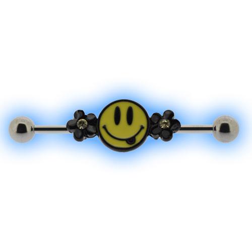 Smiley Emoji Scaffold Bar Industrial Ear Piercings