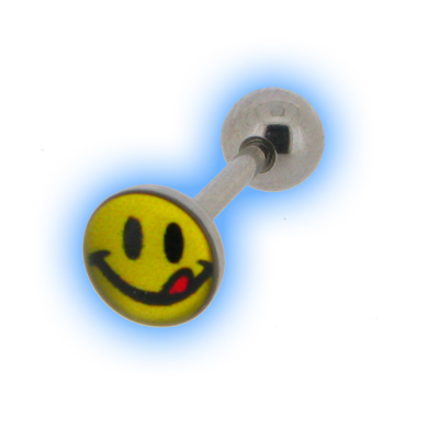 Smiley Face Rave Picture Tongue Stud