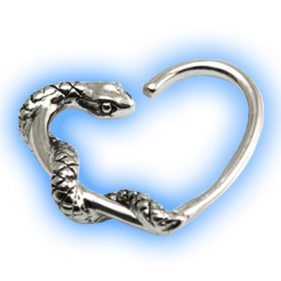 Daith Heart with Steel Snake