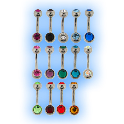 316L Baby Jewelled Steel Belly Bar Bananabell