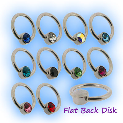1mm Steel Flat Back Ball Closure Ring - Jewel