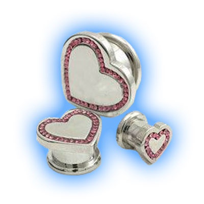 Gem Set Heart Screw Set for Stretched Ear Lobes