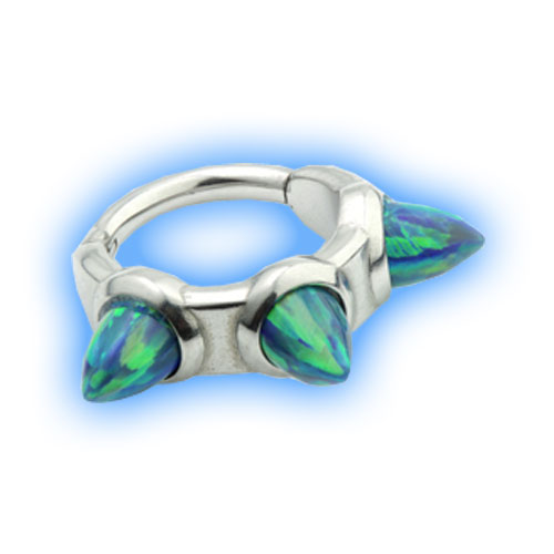 Hinged Ring with large Opal Spikes