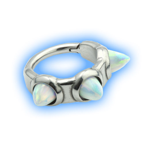 Hinged Ring with Opal Spikes