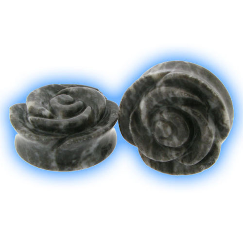 Pair of Ear Stretching Plugs Stone Flower 25mm (1 inch)