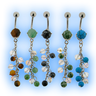 Natural Stone Belly Bar - Bead Dangle