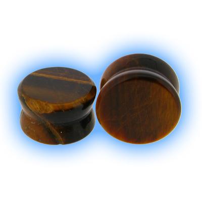 Semi Precious Stone Ear Plug - Tigers Eye