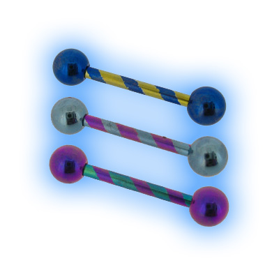 Anodised Titanium Candy Stripe Barbell - 1.6mm (14G)