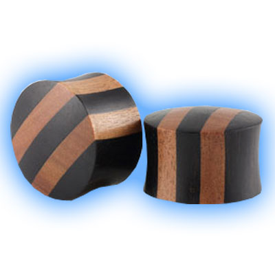Pair of Striped Wood Flesh Plugs