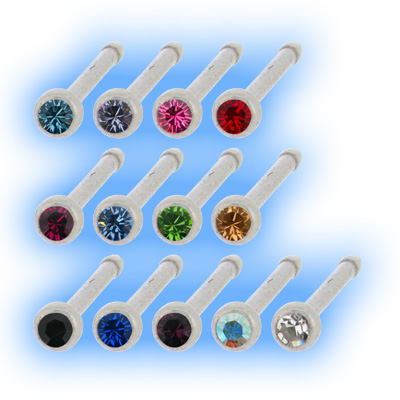 Stainless Steel Straight Jewelled Nose Pin
