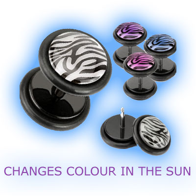 Fake Ear Plug Black Acrylic with Colour Changing Zebra Print