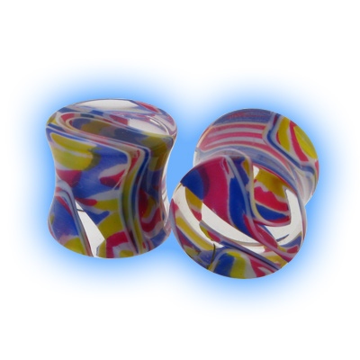 Lava Acrylic Flesh Plug - Red Blue Yellow