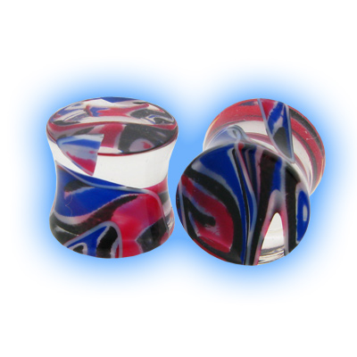 Lava Acrylic Flesh Plug - Red Blue Black