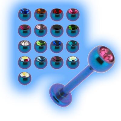 Teal Titanium Labret Stud & Jewelled Ball - 1.2mm (16g)