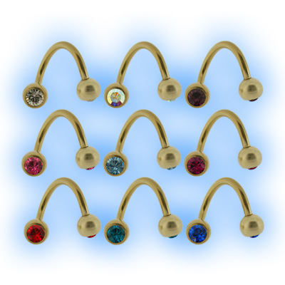 Gold Plated Twister Jewelled Balls - 1.6mm (14G)
