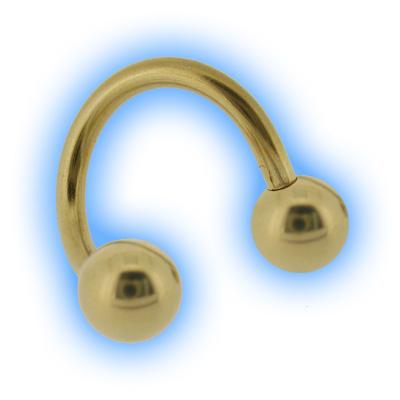 Gold Plated Twister Spiral & Balls - 1.2mm (16G)